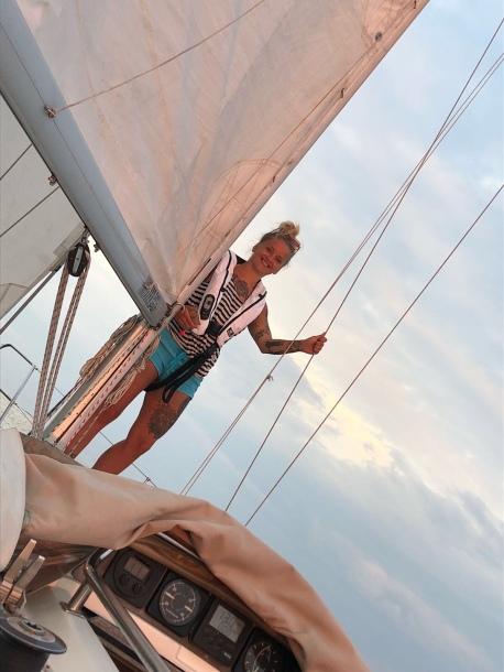 Between sails.