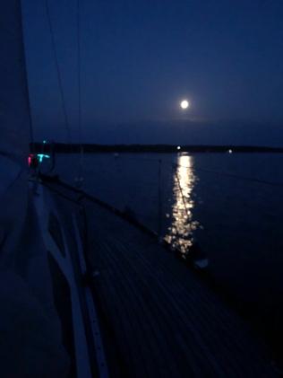 Moonlight sailing.